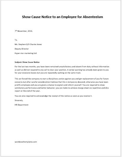 Absenteeism Letter Format