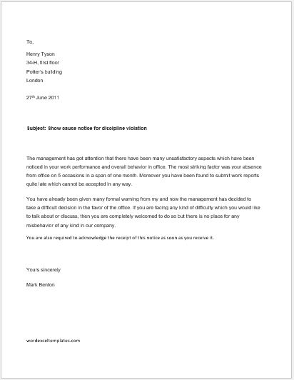 Show cause notice for discipline violation