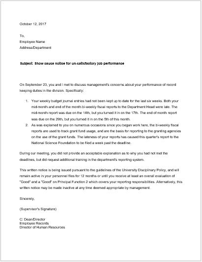 Show cause notice for un satisfactory job performance
