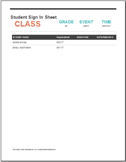 Student Sign In Sheet Best  Student Behavior Log Ideas On
