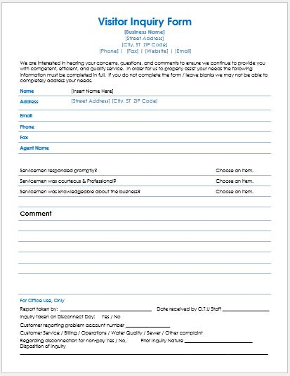 visitors inquiry form templates for word