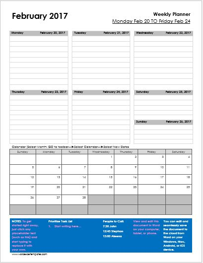 daily weekly amp monthly planner templates for ms word