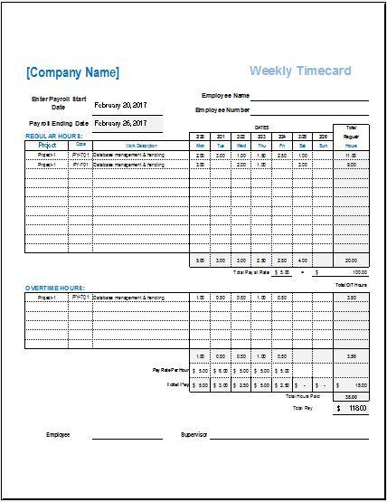Employee Weekly Timecard