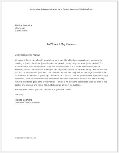 Character Reference Letter for a Parent Seeking Child Custody