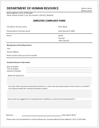 Employee Complaint Forms For Ms Word  Word  Excel Templates