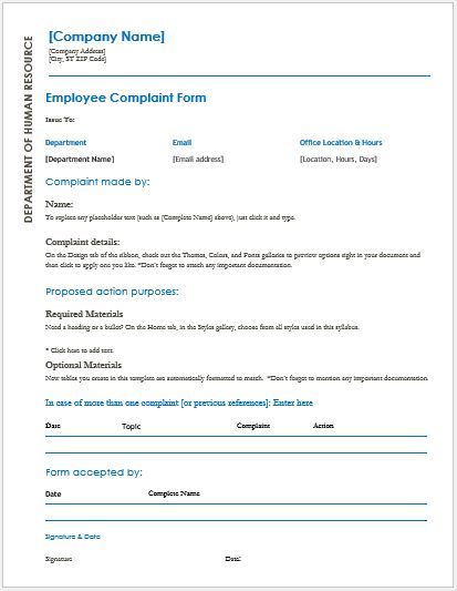 Employee Complaint Forms for MS Word – Employee Complaint Form
