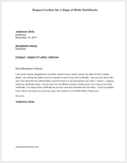 Request Letter for a Copy of Birth Certificate