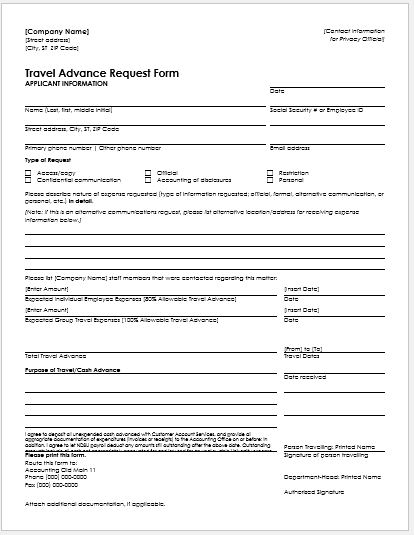 Travel Advance Request Form For Ms Word | Word & Excel Templates