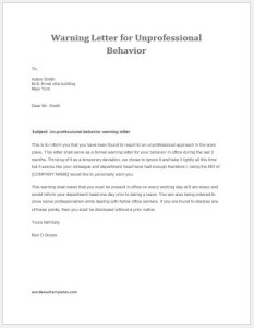unprofessional behavior warning letter