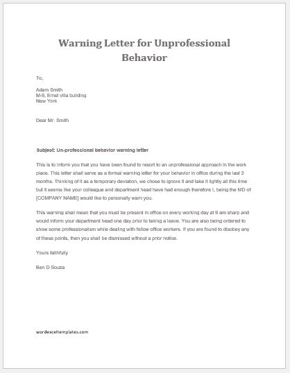 17 employee warning letter templates word excel templates unprofessional behavior warning letter spiritdancerdesigns Choice Image
