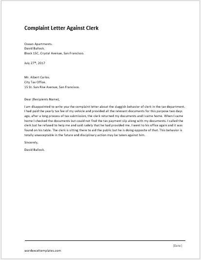 complaint letter for illegal parking
