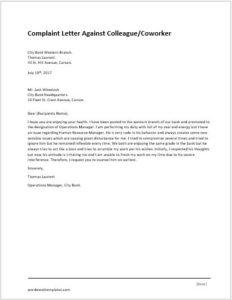 Complaint Letter Against Colleague