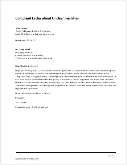 Complaint letter for illegal parking word excel templates unclean facilities complaint letter spiritdancerdesigns Images