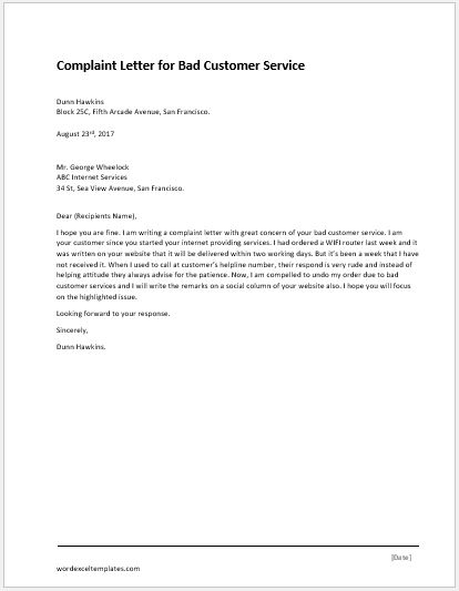 Complaint letter for illegal parking word excel templates bad customer service complaint letter spiritdancerdesigns Image collections