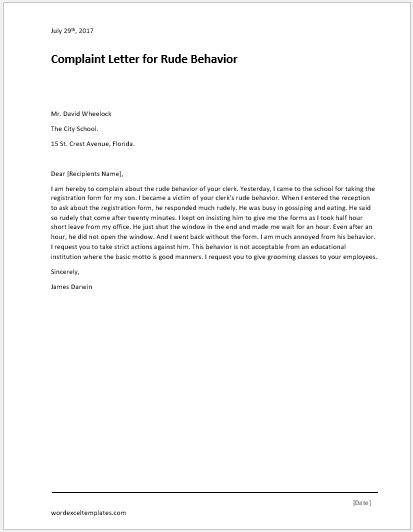 complaint letter for illegal parking word amp excel templates