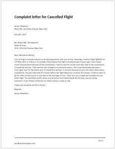 Cancelled Flight Complaint Letter
