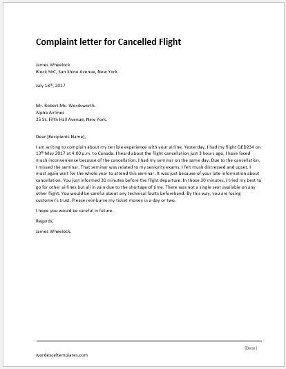 complaint sample letters