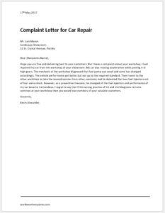 Car Repair Complaint Letter