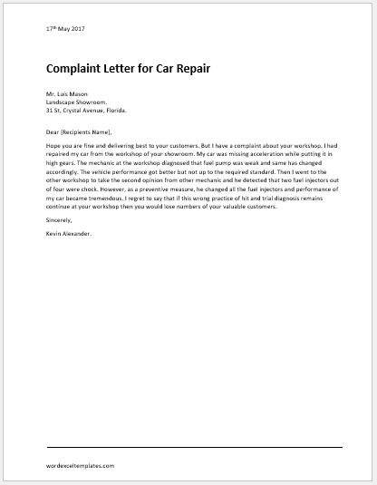 Complaint letter for illegal parking word excel templates car repair complaint letter spiritdancerdesigns Gallery