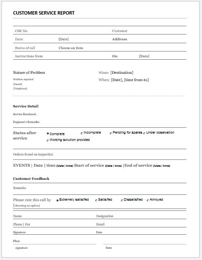 Customer Service Report Template for MS Word