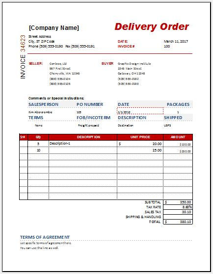 Delivery order form template