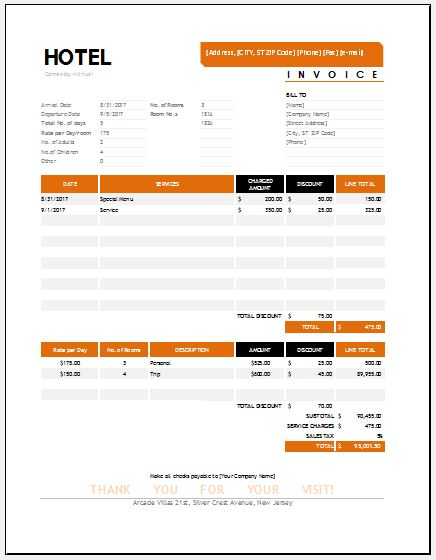 Hotel Invoice Templates For Ms Excel | Word & Excel Templates