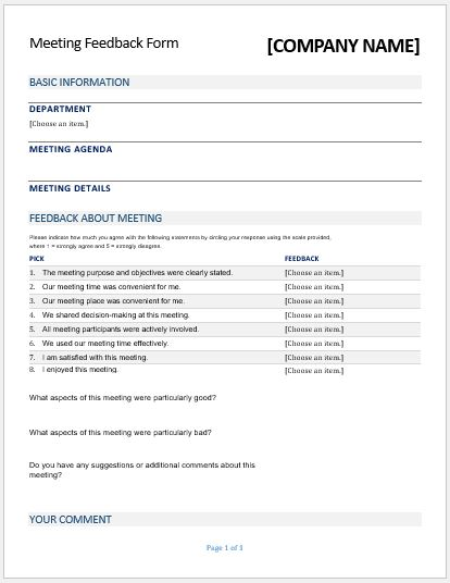 Meeting Feedback Forms for MS Word – Meeting Feedback Form Template