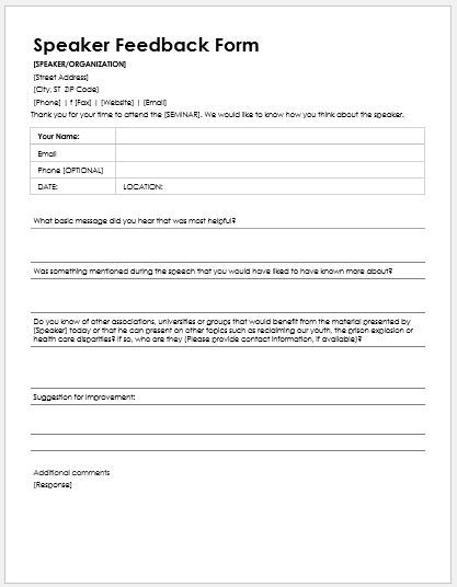 Speaker Feedback Forms for MS Word – Speaker Feedback Form
