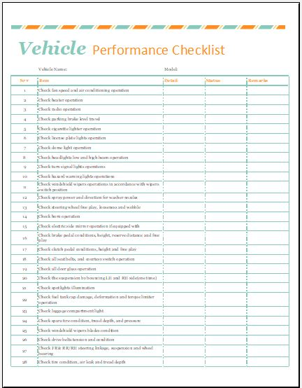 Vehicle Performance Checklist Template