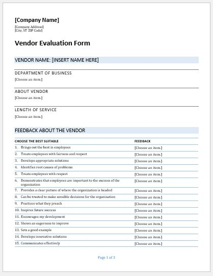 Vendor Evaluation Forms Templates for MS Word – Vendor Evaluation