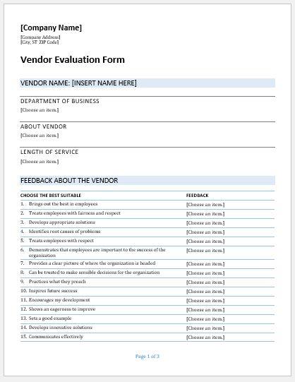 vendor evaluation forms  u0026 templates for ms word