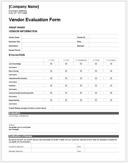 Vendor Evaluation Forms  Templates For Ms Word  Word  Excel