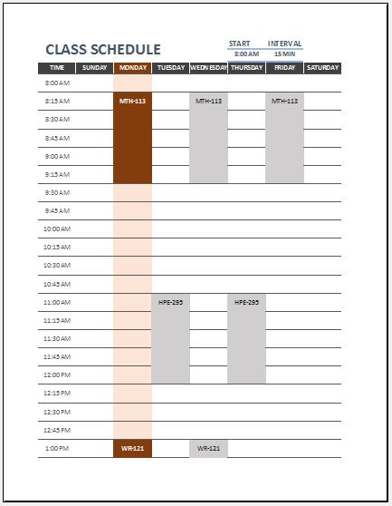 Class Timetable Sheet for Students