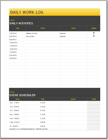 Daily work log templates word excel pdf templates for Daily work record template