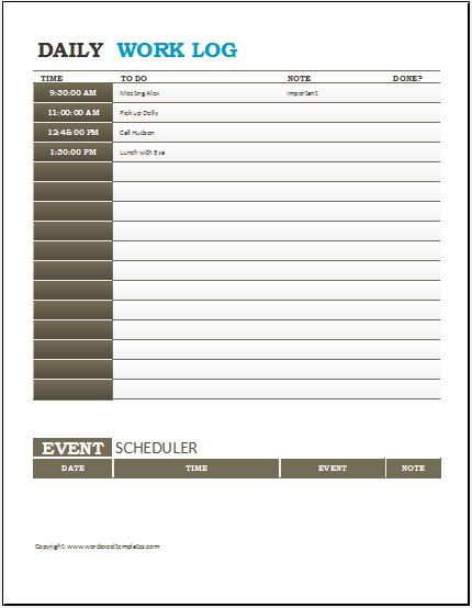 Daily work log templates for ms word excel word for Daily work record template