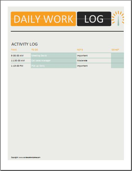 Daily Work Log Templates for MS Word Excel – Work Log Template