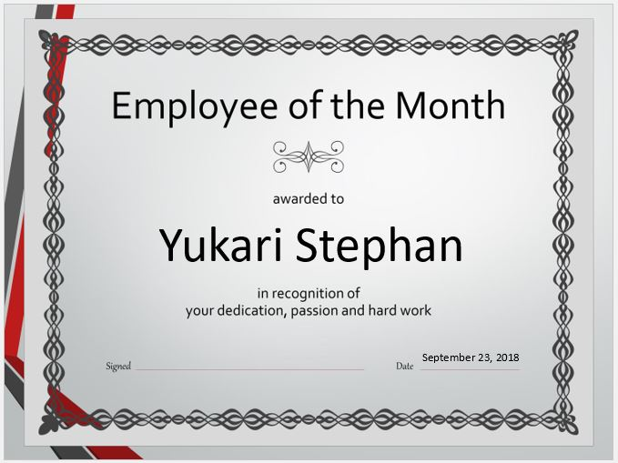 Employee salary certificate templates for ms word word excel employee of the month certificate yadclub Gallery