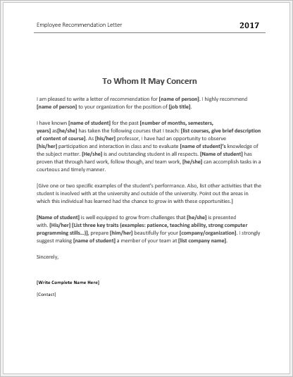 Employee Recommendation Letter Templates For Ms Word