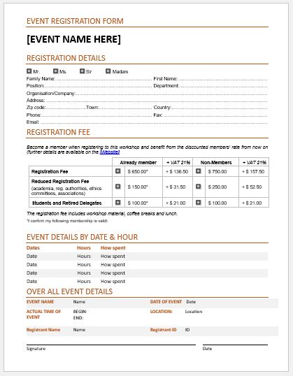 Event registration forms template for ms word word for Sample workshop registration form template