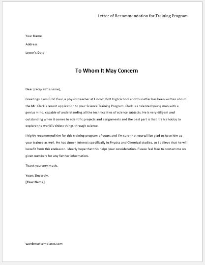 Letter of Recommendation for Training Program