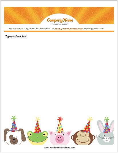 animal design letterhead templates for ms word