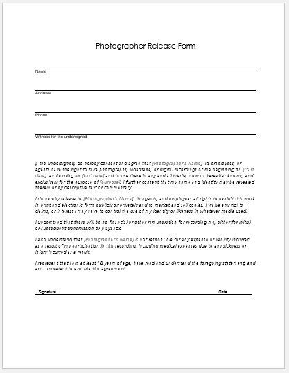 Photographer Release Form for MS Word | Word & Excel Templates