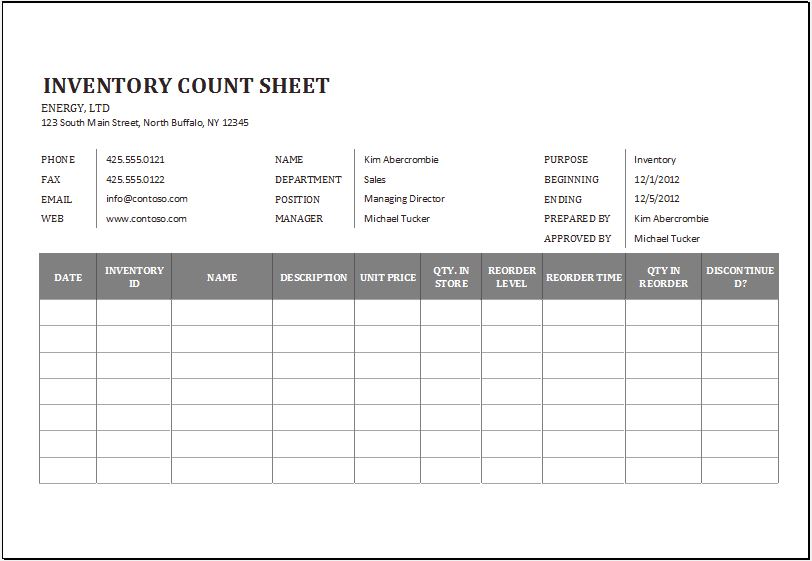 Inventory count sheet for Excel