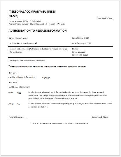 record release form templates for ms word