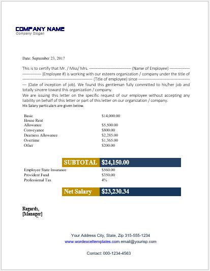 Employee Salary Certificate For MS Word