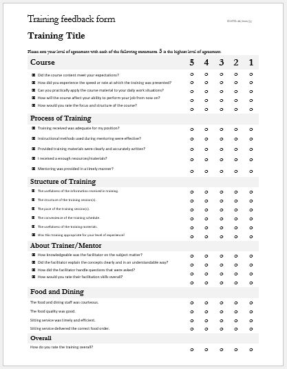 Training Feedback Form Safety Training Evaluation Form Sample
