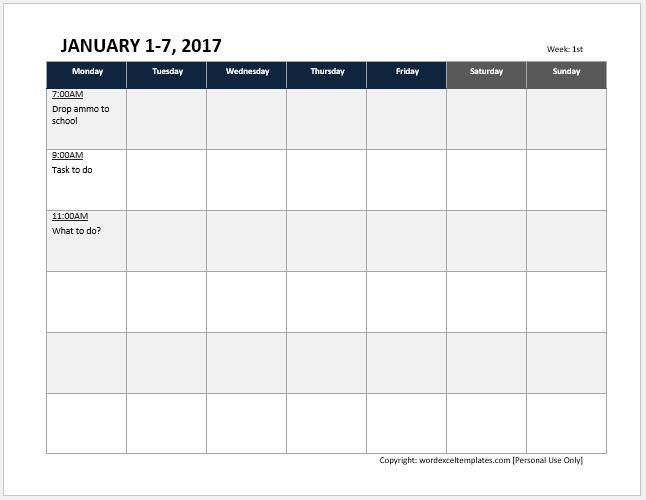 Weekly timetable sheet