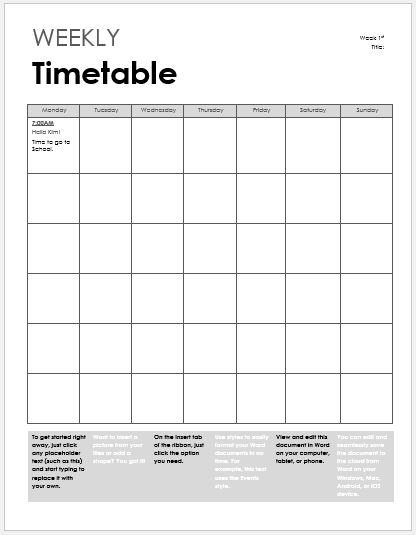 Weekly timetable sheet for MS Word