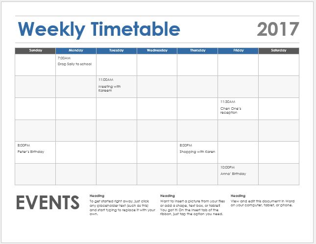 Weekly timetable sheet sample