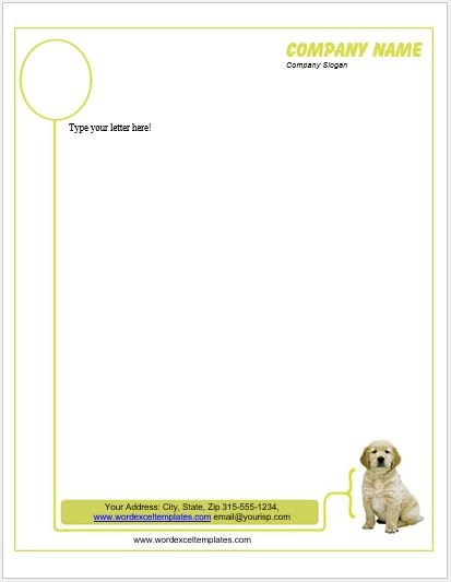 Animal Design Letterhead Templates For Ms Word Word